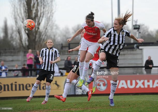 Sophie Bradley-Auckland battles for the ball against Arsenal in one of six WSL appearances she made in 2016. (Photo by David Price/Arsenal FC via Getty Images)