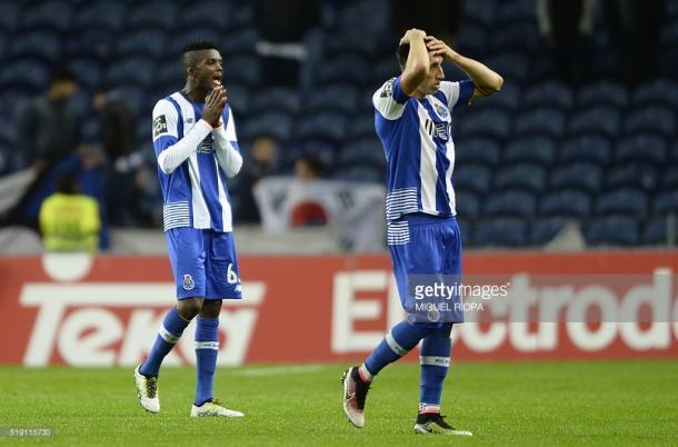 Chidozie e Herrera foram o espelho da desilusão portista, no final do jogo com o Tondela. (Fonte: Getty Images)