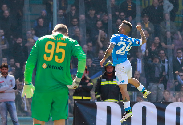 Insigne celebrates one of his 12 goals, this one coming against Verona | Photo: Carlo Hermann/AFP/Getty Images