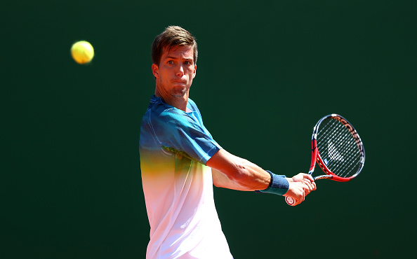 Aljaz Bedene strikes a backhand at the Monte Carlo Rolex Masters/Getty Images