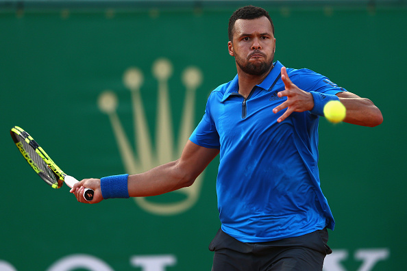 Jo-Wilfried Tsonga hits a forehand at the Monte Carlo Rolex Masters/Getty Images