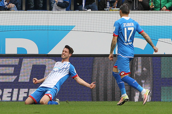 Mark Uth celebrates after scoring for Hoffenheim last season against Hertha BSC. (Photo: DANIEL ROLAND/AFP/Getty Images)