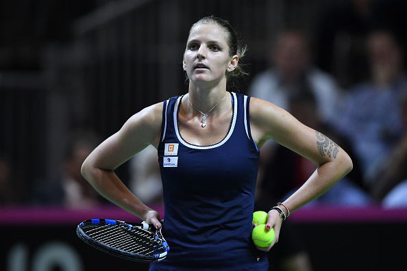 Pliskova reacts after a point during her match against Golubic. Photo credit: Valeriano Di Domenico/Getty Images.