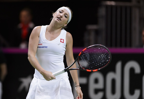 Bacsinszky reacts after a point in her match against Pliskova. Photo credit: Fabrice Coffrini/Getty Images.