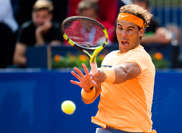 Rafael Nadal muscles a forehand at the Barcelona Open Banc Sabadell/Getty Images