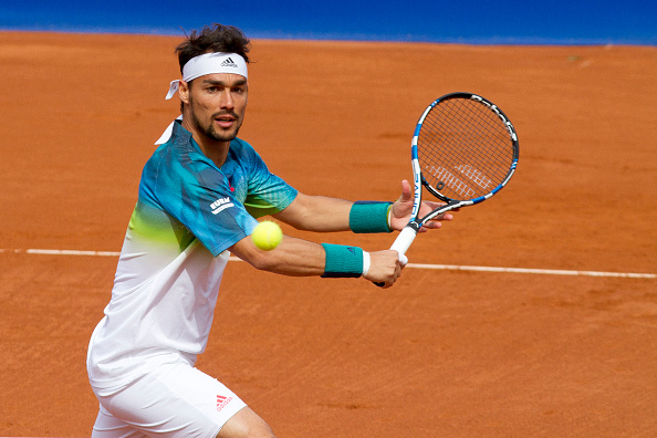 Fabio Fognini makes contact with a volley at the Barcelona Open Banc Sabadell/Getty Images