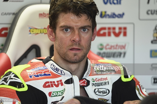 LCR Honda rider Cal Crutchlow in his pit garage - Getty Images