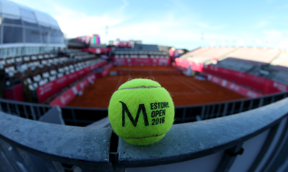 ESTORIL, PORTUGAL - APRIL 23: Ball in center court at the end of day 1 of competition at Millennium Estoril Open at Clube de Tenis do Estoril on April 23, 2016 in Estoril, Portugal. (Photo by Gualter Fatia/Getty Images)