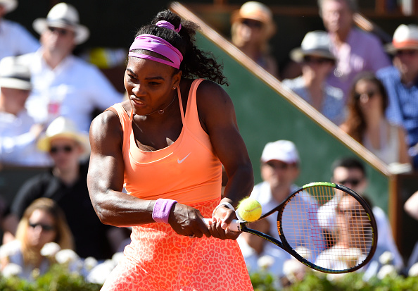 Serena Williams strikes a forehand at the 2015 French Open in Paris/Getty Images