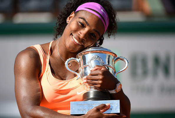 Serena Williams with the French Open trophy after the 2015 final against Lucie Safarova in Paris/Getty Images