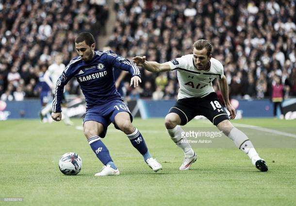Eden Hazard e Harry Kane em jogo da Premier League. Foto: Getty Images