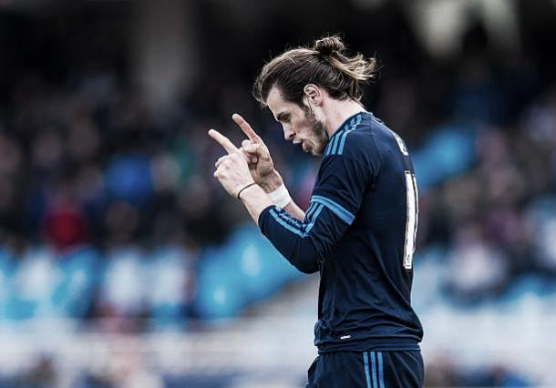 Gareth Bale comemora o gol da vitória sobre a Real Sociedad | Foto: Juan Manuel Serrano Arce/Getty Images