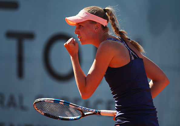 Naomi Broady releases a fist pump at the Mutua Madrid Open/Getty Images