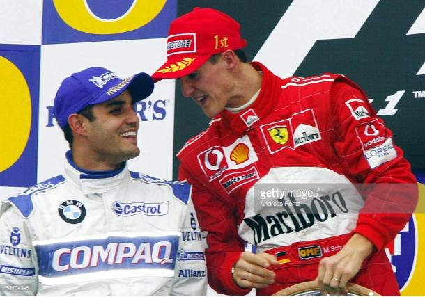 Montoya (L) had no answer to Schumacher's pace.   Photo: Getty Images/Andreas Rentz