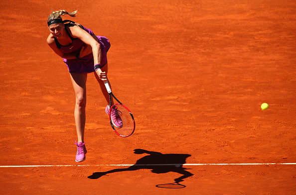 Kvitova in second round action Monday. Photo credit: Clive Brunskill/Getty Images.