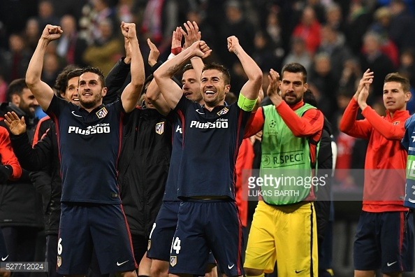The Atletico Madrid players celebrate knocking Bayern out in the semi-finals last season | Photo:
