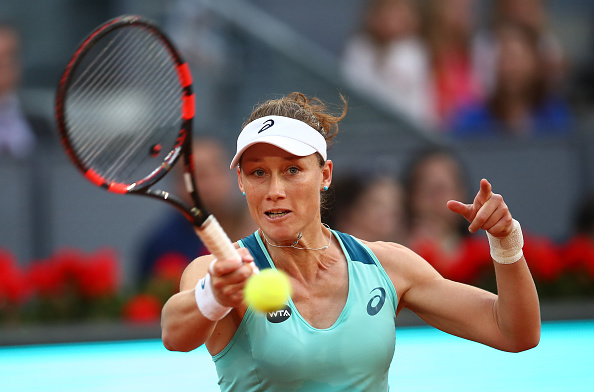 Samantha Stosur cracks a forehand at the Mutua Madrid Open/Getty Images