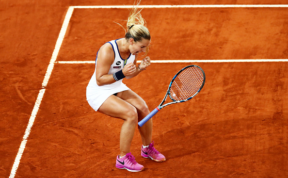 Cibulkova celebrates her win over Louisa Chirico in the semifinals yesterday. Photo credit: Clive Brunskill/Getty Images.