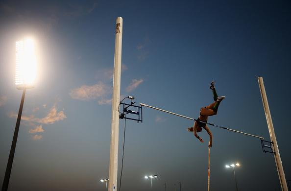 Sandi Morris competes in the Women's Pole Vault final during the Doha IAAF Diamond League