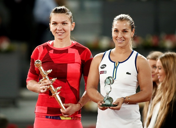 Halep and Cibulkova pose with their trophies after the trophy presentation ceremony last Saturday. Photo credit: Anadolu Agnecy/Getty Images.