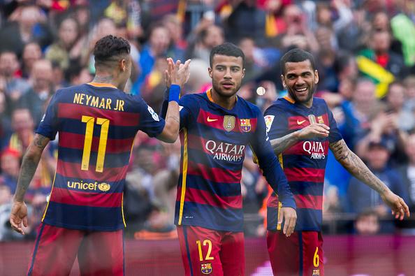 Trio brasileiro do Barcelona: Neymar, Rafinha e Daniel Alves (Foto: Getty Images)