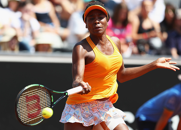 Venus Williams strikes a forehand at the Internazionali BNL d'Italia in Rome/Getty Images