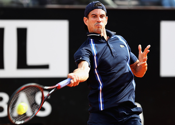 Guillermo Garcia-Lopez hits a forehand at the Internazionali BNL d'Italia in Rome/Getty Images