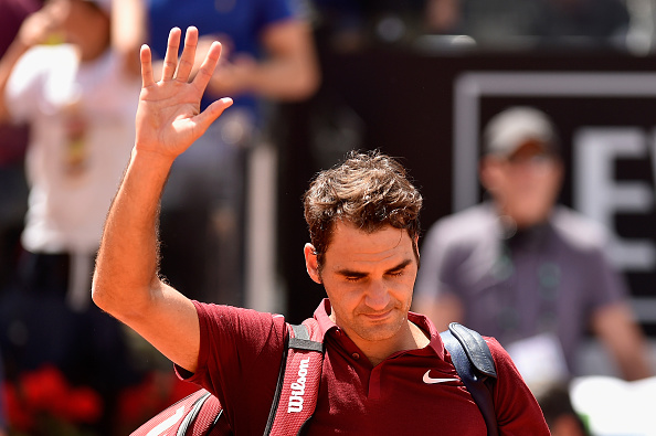 Roger Federer waves goodbye after a third round loss at the Internazionali BNL d'Italia in Rome/Getty Images