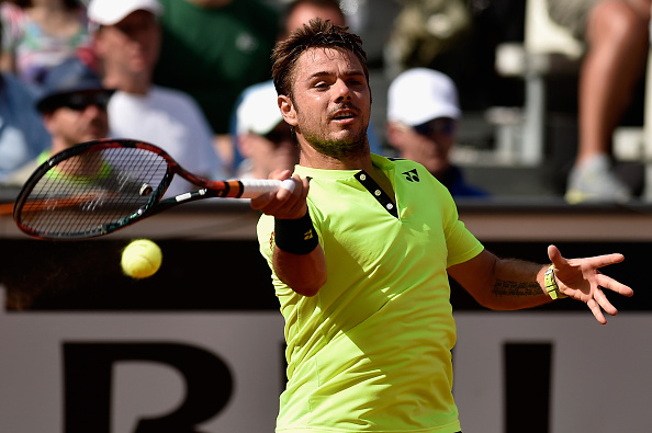 Stan Wawrinka hits a forehand at the Internazionali BNL d'Italia in Rome/Getty Images