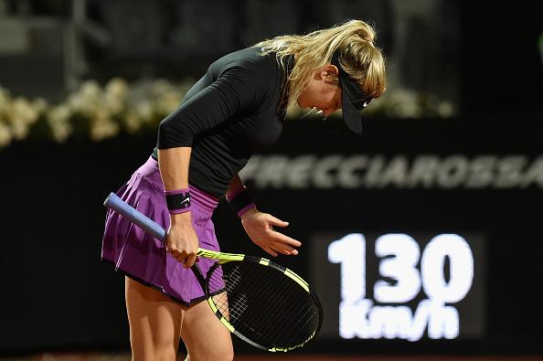 Eugenie Bouchard of Canada reacts during her match against Barbora Strycova. Photo: Getty Images/Dennis Grombkowski
