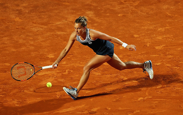 Barbora Strycova of Czech Republic plays a forehand in her match against Eugenie Bouchard. Photo: Getty Images/Dennis Grombkowski