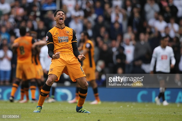 Davies celebrates Hull's emphatic play-off first leg win at Derby. (picture: Getty Images / Matthew Ashton - AMA)