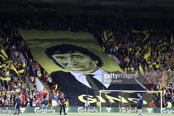 Watford fans with a Gino Pozzo banner (Photo: Bryn Lennon/ Getty Images)