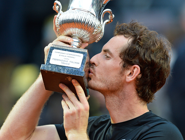 Andy Murray kisses the trophy after the Internazionali BNL d'Italia final in Rome/Getty Images