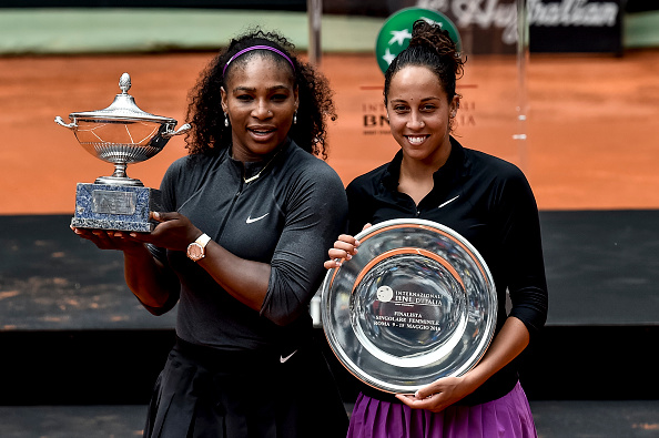 Williams and Keys pose with their silverware after the trophy presentation ceremony. Photo credit: NurPhoto/Getty Images.