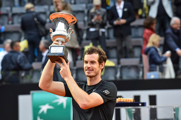 Andy Murray holds the trophy after his win at the Italian Open.  (Photo by Giuseppe Maffia / DPI / NurPhoto via Getty Images)