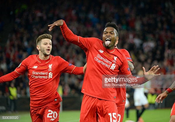 Sturridge celebrates after putting Liverpool ahead against Sevilla. Photo: Getty