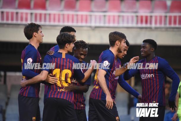 Los futbolistas azulgranas celebrando el 2-0 / Foto: Noelia Déniz (VAVEL.com)
