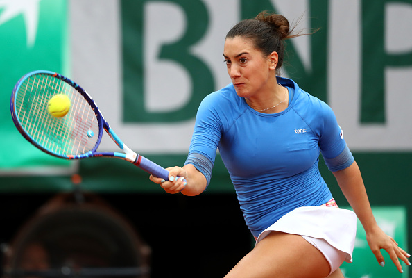 Danka Kovinic hits a forehand at the 2016 French Open. (Photo by Julian Finney/Getty Images)