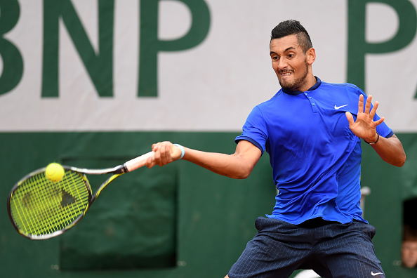 Nick Kyrgios strikes a forehand at the French Open in Paris/Getty Images