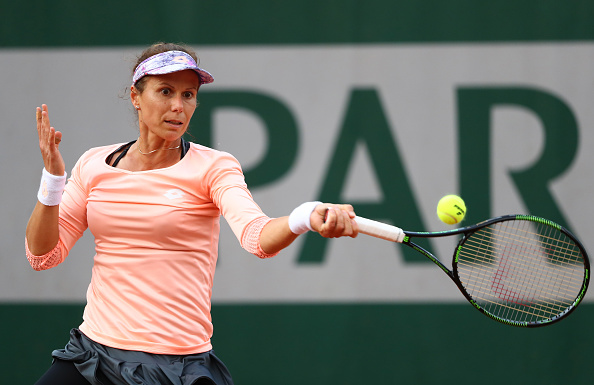 Varvara Lepchenko hits a forehand during the French Open. (Photo by Julian Finney/Getty Images)