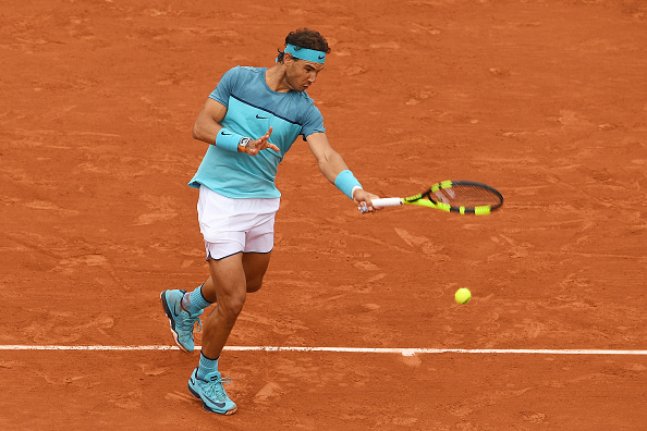 Rafael Nadal hits a forehand at the French Open in Paris/Getty Images