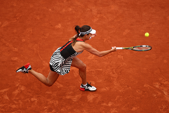 Ana Ivanovic hits a forehand at the French Open in Paris/Getty Images