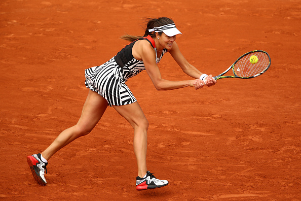 Ana Ivanovic hits a backhand at the French Open in Paris/Getty Images