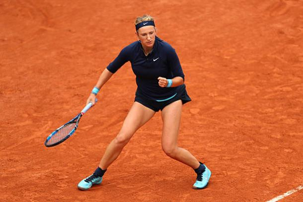 Victoria Azarenka in action during her first round loss to Karin Knapp at then French Open last year (Getty/Julian Finney)