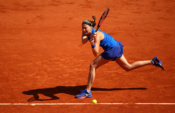 Petra Kvitova hits a backhand at the French Open in Paris/Getty Images