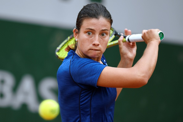 Anastasija Sevastova slices a backhand at the 2016 French Open/Getty Images