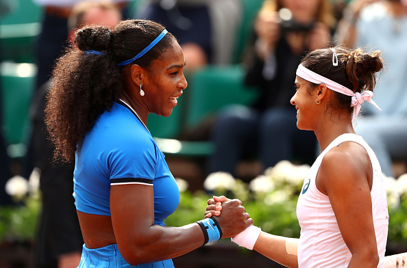 Serena Williams is congratulated by Teliana Pereira of Brazil during the second round match of the 2016 French Open. (Photo by Julian Finney/Getty Images)