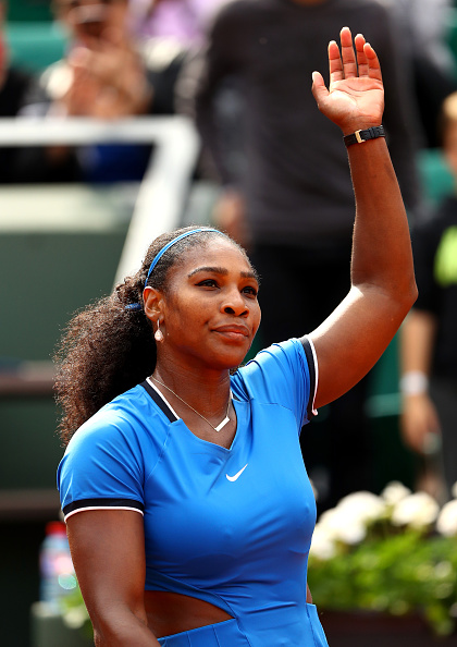 Serena Williams celebrates victory during the second round match against Teliana Pereira of the 2016 French Open. (Photo by Julian Finney/Getty Images)