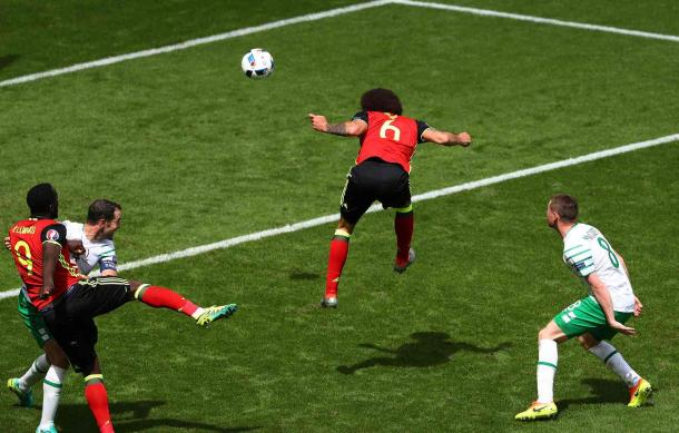 Axel Witsel headed home Belgium's second goal of the game (Photo: Getty Images)